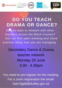 Poster to invite secondary drama and dance teachers